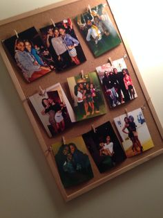 DIY photo frames. Easy. All you need: braiding string, small clothes hangers, and your photo!