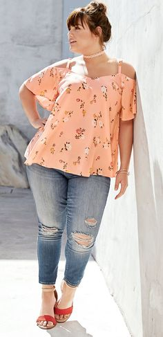 Plus Size Cold Shoulder Crossback Top (Top Design Girls)