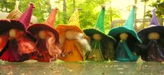 A Rainbow of Witches Wool Felt Witch Peg Doll Witch Waldorf