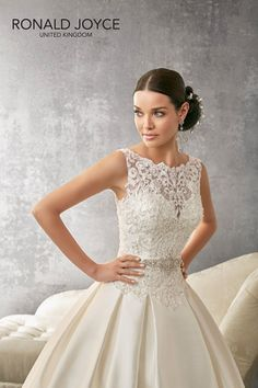 AUDREY An exquisite lace dropped waist bodice with a boat neckline and plunge back on a soft pleated mikado skirt with mikado waistband 69157 Wedding Dressses, White Wedding Gowns, 2016 Wedding Dresses, Designer Wedding Dresses, Bridal Dresses, Flower Girl Dresses, Dresses 2016, Ronald Joyce Wedding Dresses, Mori Lee Bridal