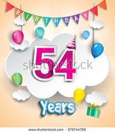 54 Years Birthday Design for greeting cards and poster, with clouds and gift box, balloons. using Paper Art Design Style. vector elements for anniversary celebration.