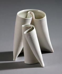 'Folding Vases' by Irish ceramic artist Karen Morgan. porcelain. via Irish Craft Portfolio