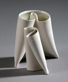 'Folding Vases' by Irish ceramic artist Karen Morgan. porcelain. via Irish Craft Portfolio