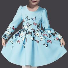 Fashionable Round Neck Colored Butterfly Print Long Sleeve Mini Pleated Dress…