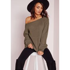 Missguided Off Shoulder Jumper ($24) ❤ liked on Polyvore featuring tops, sweaters, taupe, jumpers sweaters, off the shoulder sweater, off shoulder jumper, taupe sweater and off the shoulder jumper