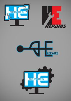 "4 Logo ideas for a computer repair company ""HErepairs""."