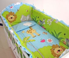 3 Pieces Lovely Baby Crib Bedding Set Cute Animal Lion Deer Tree Baby Bedding Set Cot Sheets Cuna Bumper Ropa De Cuna Kit Berco Be Novel In Design Mother & Kids Bedding Sets