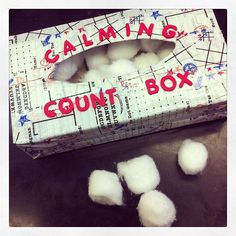 FREE Calming Strategy. I used an old Kleenex box and covered it with duck tape. You can use whatever for the counting. I used cotton balls (20) and then when a student is starting to throw a fit or having a hard time following directions you have them dump out the 20 items and count them as they put it back in box until they calm down!! There is no link to go to, but the picture and description says it all. Great idea even if they can't count--just putting them back in one at a time.