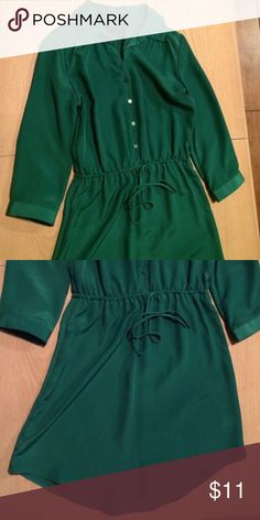 Beautiful Gap shirt dress Gorgeous green Gap shirt dress. Bought off another posher but is too small for me! 😢. If you are normally an XS, this is perfect for you. Normally I'm an XS-Small in Gap clothes but this material has it running on the extra small side. GAP Dresses
