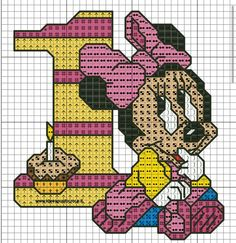 baby minnie compleanno punto croce by on DeviantArt Cross Stitch Fairy, Cross Stitch For Kids, Cross Stitch Cards, Cross Stitching, Cross Stitch Embroidery, Cross Stitch Patterns, Crochet Mickey Mouse, Stitch Cartoon, Mickey Mouse And Friends