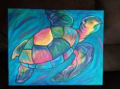Sea Turtle Painting, Sea Turtle Art, Diy Canvas Art, Abstract Canvas, Watercolor Fish, Gourd Art, Art Sketchbook, Art Drawings, Turtle Table