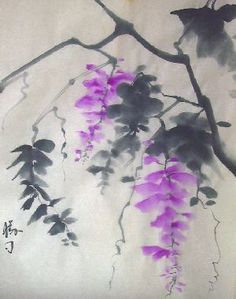 Wisteria ink painting