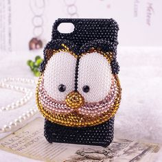 Rare 3D Handmade GARFIELD  Bling Swarovski Crystal iPhone 4 case, iPhone 4s case, case for iPhone 4 mobile case  173. $48.99, via Etsy.