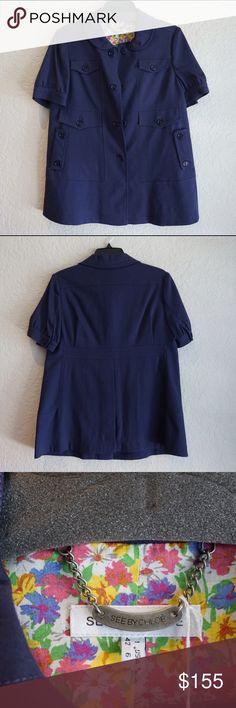 See by Chloe Short Sleeve Purple Blue Jacket 6 S See by Chloe Short Sleeve Blue Jacket 6 S Chloe Jackets & Coats