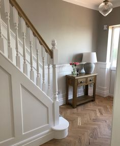 A very well executed example of our Parquet Solid Block Wood flooring 😍 With this flooring being unf Entrance Hall Decor, House Entrance, Hall Flooring, Solid Wood Flooring, Stair Paneling, Panelling, 1930s House Renovation, Narrow Hallway Decorating, Hallway Designs
