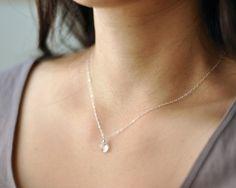 Pure  clear quartz gem simple sterling silver necklace  par edor, $22,00