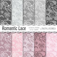 Lace digital paper LACE PINK GRAY Romantic by DigitalStories, €2.60