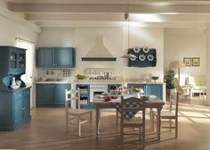wwwmobilificiomaieronit 0433775330 cucina in legno massello di pino color azzurro