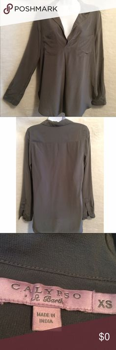 Calypso St Barth Gray Blouse Calypso St Barth Flowy Blouse In A Deep Gray Hue. Tag reads XS but it fits better as a Sm/Md Calypso St. Barth Tops Blouses