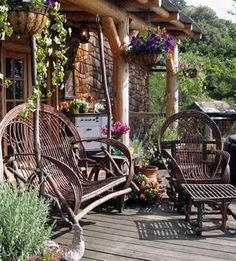 willow twig furniture for the rustic porch