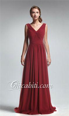 7a1615fb3e76 rosso vestito da sera V collo chiffon lungo Wedding Bridesmaids