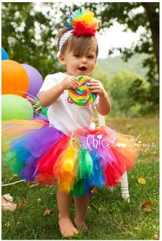 Rainbow Tutu Baby Tutu and puff headband set 0 by ChicSomethings, $35.00