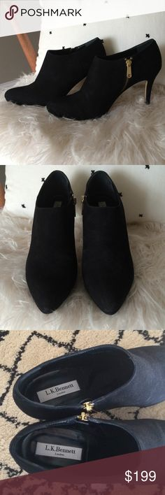 L.K. Bennett l Black Suede Doreen Platform Booties Gorgeous, amazing condition L.K. Bennett Doreen black pointy toe suede booties. Gold zipper on the inside. Hardly any wear to the bottoms. The only tiny bit of wear is a little bit of hardly noticeable scuffing at the point of the toe normal wear and tear. Other than that almost like new condition.  - excellent pre-loved condition -  genuine suede, made in Italy LK Bennett Shoes Ankle Boots & Booties