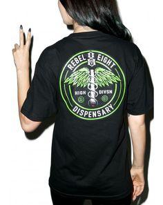 #DollsKill #lookbook #photoshoot #model #Rebel8 #high #division #tee #shirt #black #tshirt #green #dispensary #weed