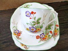 Art Deco / Vintage China Tea Set Trio.Royal Albert Crown China.8784.British.
