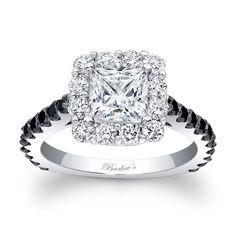Black Diamond Engagement Ring - Classic elegance with clean lines, this  three stone black diamond engagement ring, features diamond accent stones …