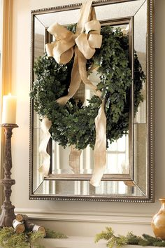 Christmas Wreath, over mirror