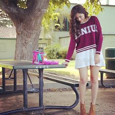 Genius oversized jersey sweater; short lace skirt, heeled pseudo working ankle booties