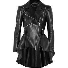 Alexander McQueen Leather peplum biker jacket ($4,910) ❤ liked on Polyvore featuring outerwear, jackets, coats, black, slim jacket, slim fit biker jacket, biker jackets, slim motorcycle jacket and moto jackets