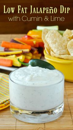 Low Fat Jalapeño Dip with Cumin and Lime. Super simple, super creamy & super flavourful. It's everything you could ask for in a low fat, healthy dip for veggies or tortilla chips. Great for #CincoDeMayo