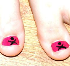 Our church's dance minestry(lil pizaz)logo painted on Aly's toenails (O:
