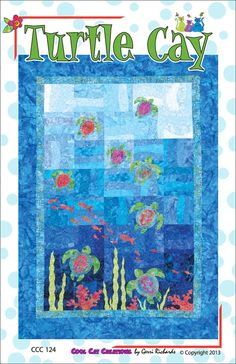 Items similar to Turtle Cay Ocean Sea Fish Quilt Pattern Applique Pieced on Etsy Fish Quilt Pattern, Quilt Patterns, Quilting Ideas, Block Patterns, Sea Turtle Quilts, Beach Quilt, Ocean Quilt, Nautical Quilt, Turtle Crafts