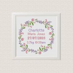 Birth announcement cross stitch pattern, custom name and date, floral borde Wedding Cross Stitch Patterns, Cross Stitch Borders, Cross Stitch Baby, Cross Stitch Samplers, Modern Cross Stitch, Cross Stitching, Cross Stitch Embroidery, Embroidery Patterns, New Baby Girls