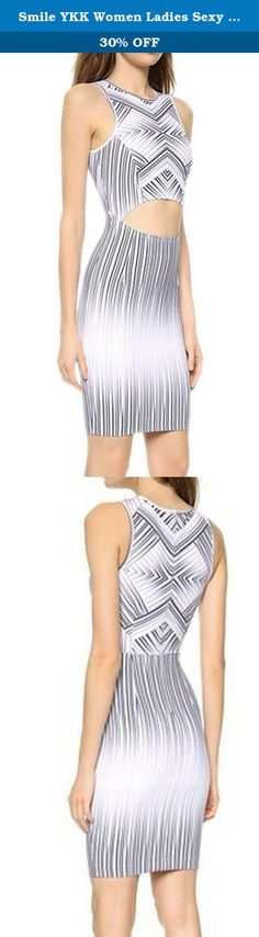 Smile YKK Women Ladies Sexy Cutout Maze Striped Print Bodycon Dress L bust 80-108cm. Hazy, intersecting stripes form a striking maze on this sexy cutout print dress, bringing graphic perspective to the body-con profile. A cutout midriff shows a glimpse of women¡¯s beautiful skin. It features jewel neckline, sleeveless, natural waist and cut in above-knee length. The similar design of LC22044 also highly recommended! Size are M: bust 76-102cm,waist 64-84cm,hip 84-112 cm,length 82cm;L: bust...
