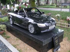 Car Sculpture Gravestone | How much do you love cars?  This Granite BMW M3 is an amazing life-sized replica