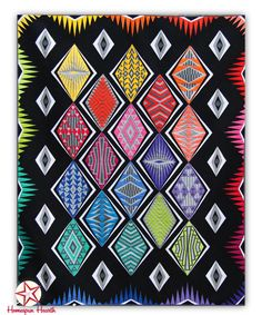 """Empire Place on Black - Block of the Month  The Empire Place quilt finishes 72"""" x 90"""""""