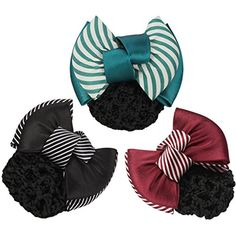 LiveZone (Pack of 3 Pcs) Women Professional Hair Bun Cover Net Snood Hairnet Bowknot Decor Barrette Hair Clip Bow Lace Flower Hair Accessories ,3 Colors-Green Red  #HairCare