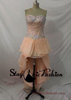 Peach Strapless Rhinestone Beaded Ruffled Layered High Low Prom Party Dress