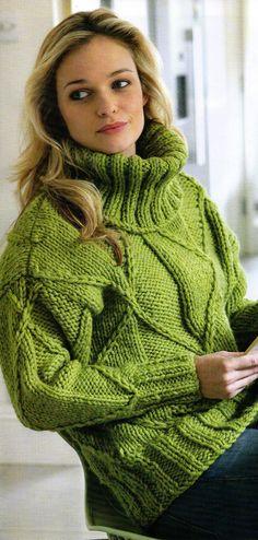 womens green diamond jumper knitting pattern 99p | eBay