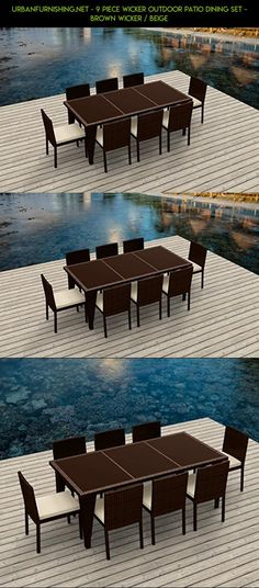 UrbanFurnishing.net - 9 Piece Wicker Outdoor Patio Dining Set - BROWN Wicker / Beige #shopping #camera #patio #kit #furniture #drone #racing #gadgets #products #tech #plans #seats #fpv #parts #technology #8