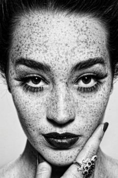 freckles, portrait, black and white, photography
