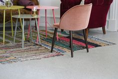 Sewing small rugs together to make a larger one, great idea!