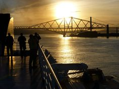The Forth Rail Bridge and the Forth Road Bridge viewed from the Rosyth-Zeebrugge ferry