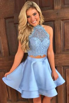 Piece prom dress - Princess Halter 2 Piece Aline Open Back Sleeveless Lace Mini Short Homecoming Dress – Piece prom dress Prom Dress Two Piece, 2 Piece Homecoming Dresses, Prom Dresses 2018, Dresses Short, Grad Dresses, Prom Party Dresses, Blue Dresses, Dress Prom, Quinceanera Dresses