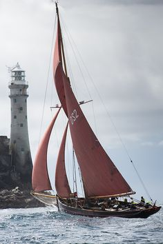 The Jolie Brise passing the Fastnet Rock, West Cork, Ireland. Photo: Brian Carlin