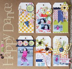 LilyBeeDesign: layout that uses tags to divide the page into sections that contain photos and embellishments.